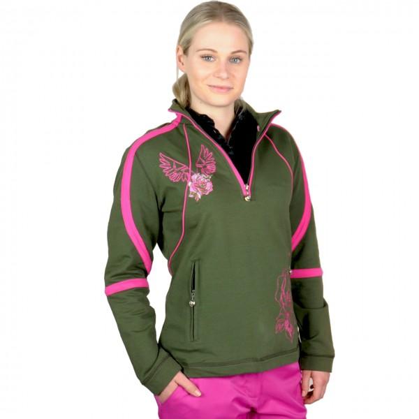 Masters Damensweater olivegrün bestickt pink
