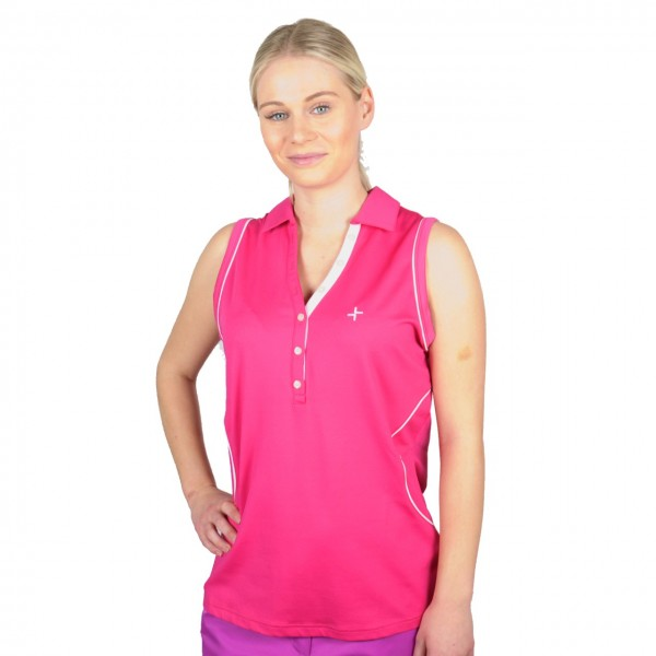 Cross golf polo Sleevelees Top, rosa