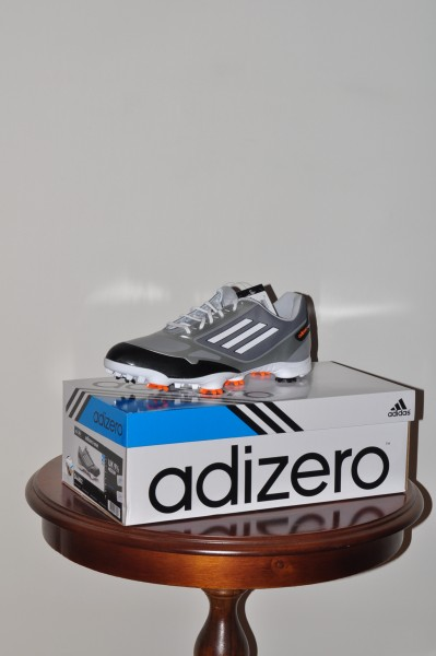Adizero one, golf schuhe midgray, weisse Sohle, Spikes weiss- orange, Waterproof 2 Jahre Garantie