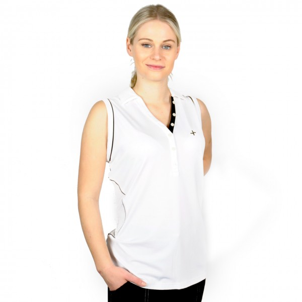 Cross golf polo Sleevelees Top, weiss