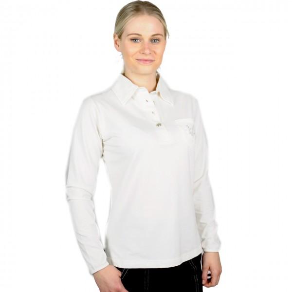 Masters Langarmpolosweater weiß