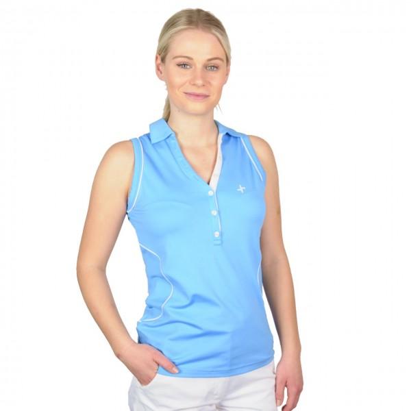 Cross golf polo Sleevelees Top, blau