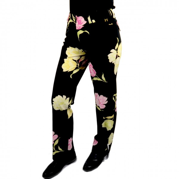 Damenhose Blumenmuster stretch