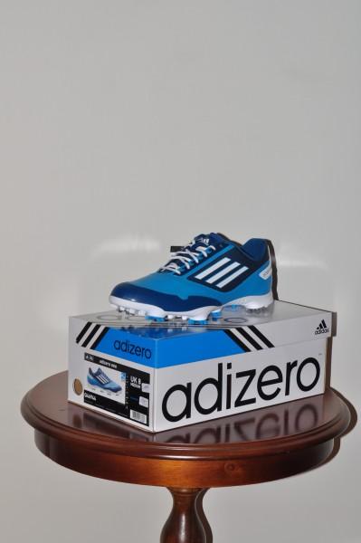 Adizero one, Golf Schuhe Solarement, weisse Sohle, Spikes weiss- blau, Waterproof 2 Jahre Garantie