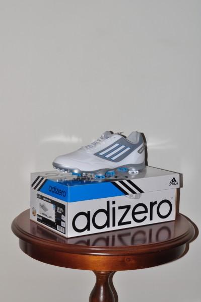 Adizero one, Golf schuhe weiss, silber Sohle, Spikes weiss-blau, Waterproof 2 Jahre Garantie